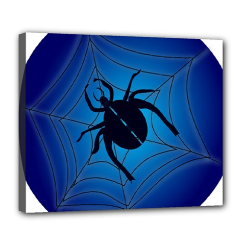 Spider On Web Deluxe Canvas 24  X 20   by Amaryn4rt