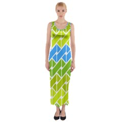 Link Pattern Fitted Maxi Dress by AnjaniArt