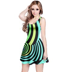 Optical Illusions Checkered Basic Optical Bending Pictures Cat Reversible Sleeveless Dress by AnjaniArt