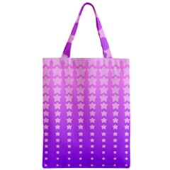 Purple And Pink Stars Zipper Classic Tote Bag by AnjaniArt