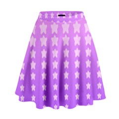 Purple And Pink Stars High Waist Skirt by AnjaniArt