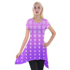Purple And Pink Stars Short Sleeve Side Drop Tunic by AnjaniArt