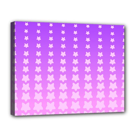 Purple And Pink Stars Line Canvas 14  X 11  by AnjaniArt