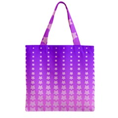 Purple And Pink Stars Line Zipper Grocery Tote Bag by AnjaniArt