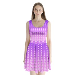 Purple And Pink Stars Line Split Back Mini Dress  by AnjaniArt
