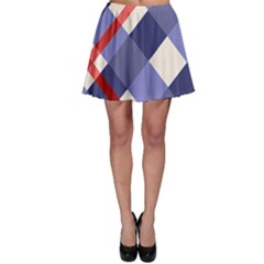 Red And Purple Plaid Skater Skirt by AnjaniArt