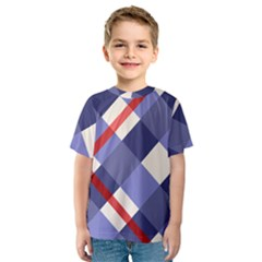 Red And Purple Plaid Kids  Sport Mesh Tee