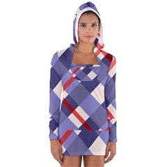 Red And Purple Plaid Women s Long Sleeve Hooded T Shirt