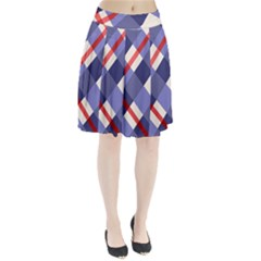 Red And Purple Plaid Pleated Skirt by AnjaniArt