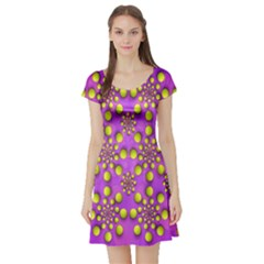 Purple Optical Illusion Wallpaper Short Sleeve Skater Dress by AnjaniArt
