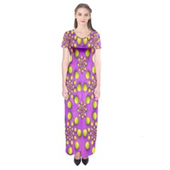 Purple Optical Illusion Wallpaper Short Sleeve Maxi Dress by AnjaniArt