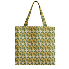Pattern Circle Green Yellow Zipper Grocery Tote Bag by AnjaniArt