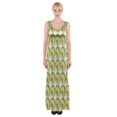 Pattern Circle Green Yellow Maxi Thigh Split Dress by AnjaniArt