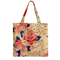 Beautiful Pink Roses  Zipper Grocery Tote Bag by Brittlevirginclothing