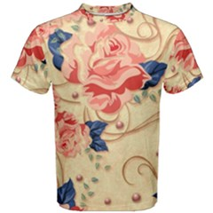 Beautiful Pink Roses Men s Cotton Tee by Brittlevirginclothing