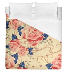 Beautiful Pink Roses Duvet Cover (queen Size) by Brittlevirginclothing