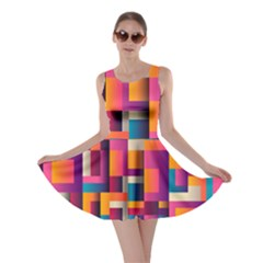 Abstract Background Geometry Blocks Skater Dress by Amaryn4rt