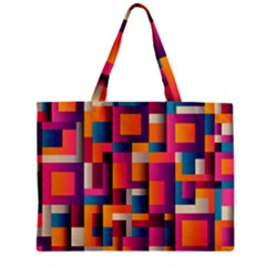 Abstract Background Geometry Blocks Zipper Mini Tote Bag by Amaryn4rt