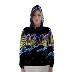 Flower Pattern Design Abstract Background Hooded Wind Breaker (women) by Amaryn4rt
