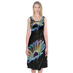 Flower Pattern Design Abstract Background Midi Sleeveless Dress by Amaryn4rt