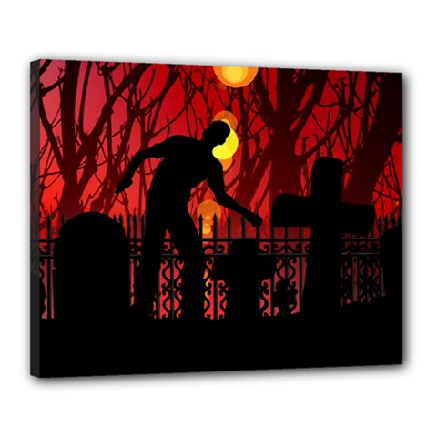 Horror Zombie Ghosts Creepy Canvas 20  X 16  by Amaryn4rt