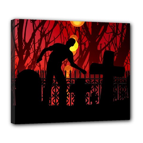 Horror Zombie Ghosts Creepy Deluxe Canvas 24  X 20   by Amaryn4rt