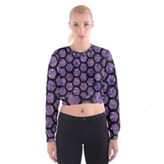 Hexagon2 Black Marble & Purple Marble (r) Cropped Sweatshirt by trendistuff