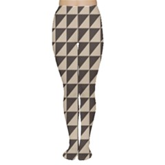 Brown Triangles Background Pattern  Women s Tights by Amaryn4rt