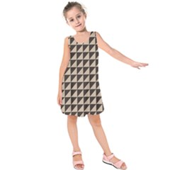 Brown Triangles Background Pattern  Kids  Sleeveless Dress by Amaryn4rt