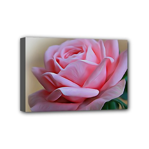 Rose Pink Flowers Pink Saturday Mini Canvas 6  X 4  by Amaryn4rt