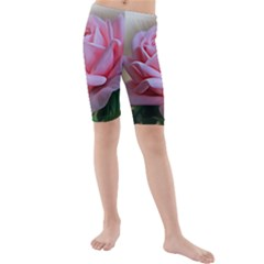 Rose Pink Flowers Pink Saturday Kids  Mid Length Swim Shorts by Amaryn4rt