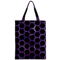 Hexagon2 Black Marble & Purple Marble Zipper Classic Tote Bag by trendistuff