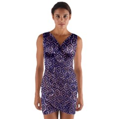Hexagon1 Black Marble & Purple Marble (r) Wrap Front Bodycon Dress by trendistuff