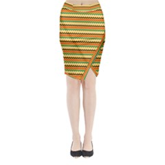 Striped Pictures Midi Wrap Pencil Skirt