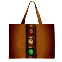 Traffic Light Green Red Yellow Zipper Large Tote Bag