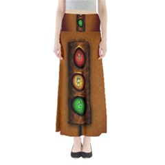 Traffic Light Green Red Yellow Maxi Skirts