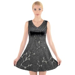 Texture Network V Neck Sleeveless Skater Dress by AnjaniArt