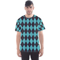 Tumblr Static Argyle Pattern Blue Black Men s Sport Mesh Tee
