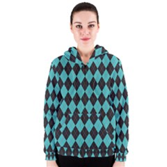 Tumblr Static Argyle Pattern Blue Black Women s Zipper Hoodie