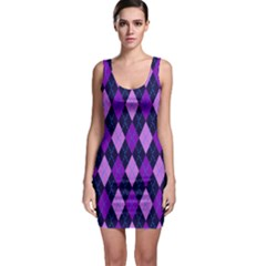 Tumblr Static Argyle Pattern Blue Purple Sleeveless Bodycon Dress by AnjaniArt