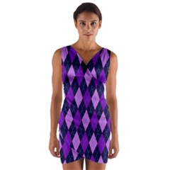 Tumblr Static Argyle Pattern Blue Purple Wrap Front Bodycon Dress