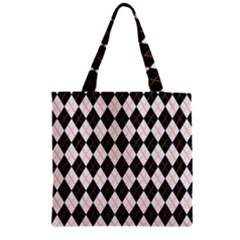 Tumblr Static Argyle Pattern Gray Brown Zipper Grocery Tote Bag