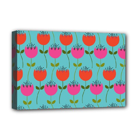 Tulips Floral Flower Deluxe Canvas 18  X 12   by AnjaniArt