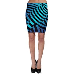 Turtle Swimming Black Blue Sea Bodycon Skirt by AnjaniArt