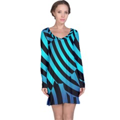 Turtle Swimming Black Blue Sea Long Sleeve Nightdress by AnjaniArt