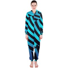 Turtle Swimming Black Blue Sea Hooded Jumpsuit (ladies)