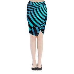 Turtle Swimming Black Blue Sea Midi Wrap Pencil Skirt by AnjaniArt