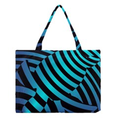Turtle Swimming Black Blue Sea Medium Tote Bag by AnjaniArt