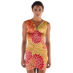 Vintage Floral Flower Red Orange Yellow Wrap Front Bodycon Dress