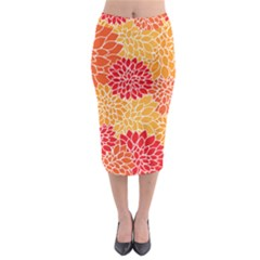 Vintage Floral Flower Red Orange Yellow Midi Pencil Skirt